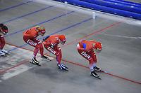 SCHAATSEN: HEERENVEEN: IJsstadion Thialf, 03-06-2013, training merkenteams op zomerijs, Yvonne Nauta, Thijsje Oenema, Jorien Voorhuis, ©foto Martin de Jong