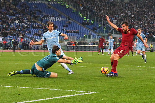 04.12.2016. Stadium Olimpico, Rome, Italy.  Serie A football league. Derby Match SS Lazio versus AS Roma. Goal scored by  Kevin Strootman past keeper Marchetti (Lazio) in the 64th minute