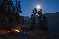 Backpacking and camping in the Hells Canyon Wilderness Area, Hells Canyon National Recreation Area, Oregon, Saddle Creek.