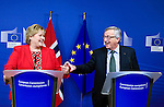 BRUSSELS - BELGIUM - 21 January 2015 -- Erna SOLBERG, Prime Minister of Norway during the press conference while visiting Jean-Claude JUNCKER the President of the European Commission. -- Photo: Juha ROININEN / EUP-IMAGES / Prime Ministers Office