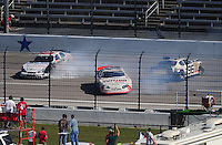 Nov. 7, 2009; Fort Worth, TX, USA; NASCAR Nationwide Series driver Mike Wallace (01), Justin Allgaier and Michael McDowell (96) crash during the O'Reilly Challenge at the Texas Motor Speedway. Mandatory Credit: Mark J. Rebilas-