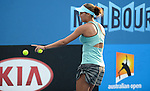 Madison Keys (USA) defeats Jie Zheng (CHN) at the Australian Open in Melbourne Australia on January 15, 2014.  Keys won, 7-6, 1-6, 7-5.