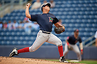 Lowell Spinners starting pitcher Jose Gonzalez (16) delivers a pitch during a game against the Staten Island Yankees on August 22, 2018 at Richmond County Bank Ballpark in Staten Island, New York.  Staten Island defeated Lowell 10-4.  (Mike Janes/Four Seam Images)
