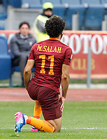Roma&rsquo;s Mohamed Salah reacts during the Italian Serie A football match between Roma and Napoli at Rome's Olympic stadium, 4 March 2017. <br /> UPDATE IMAGES PRESS/Riccardo De Luca