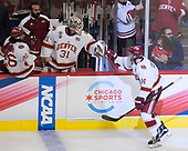 Evan Janssen (DU - 26), Nick Meldrum (DU - Equipment Manager), Evan Cowley (DU - 31), Jarid Lukosevicius (DU - 14) - The University of Denver Pioneers defeated the University of Minnesota Duluth Bulldogs 3-2 to win the national championship on Saturday, April 8, 2017, at the United Center in Chicago, Illinois.