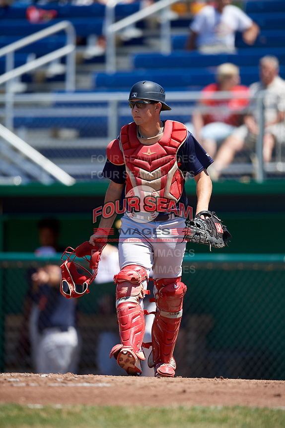 State College Spikes catcher Joe Gomez (25) during a game against the Batavia Muckdogs on July 8, 2018 at Dwyer Stadium in Batavia, New York.  Batavia defeated State College 8-3.  (Mike Janes/Four Seam Images)