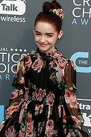 Mckenna Grace attends the 23rd Annual Critics' Choice Awards at Barker Hangar in Santa Monica, Los Angeles, USA, on 11 January 2018. Photo: Hubert Boesl - NO WIRE SERVICE - Photo: Hubert Boesl/dpa /MediaPunch ***FOR USA ONLY***