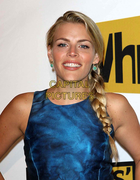 Busy Philipps.1st Annual Critics' Choice Television Awards Luncheon held at The Beverly Hills Hotel, Beverly Hills, California, USA, 20th June 2011..portrait headshot blue sleeveless side plait braid hair smiling earrings green beauty .CAP/ADM/KB.©Kevan Brooks/AdMedia/Capital Pictures.