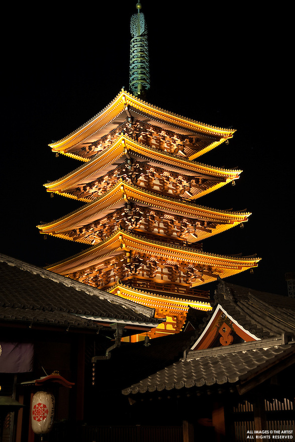 The Five Storey Pagoda was built in 942 along with the Main Hall by military commander Taira no Kinmasa. Along with the other buildings, it has been successively lost to fire and subsequently reconstructed.  In 1648, Tokugawa Iemitsu rebuilt the pagoda in 1648 along with other structures including the Main Hall and Hozomon Gate. The government declared the pagoda a national treasure in 1911