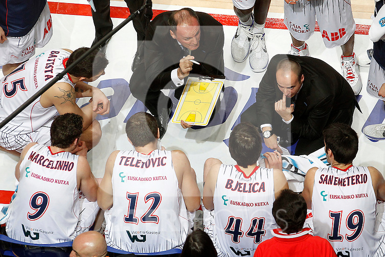 Caja Laboral's coach Dusko Ivanovic, Esteban Batista, Marcelinho Huertas, Mirza Teletovic, Nemanja Bjelica and Fernando San Emeterio during Spanish Basketball King's Cup match.February 11,2011. (ALTERPHOTOS/Acero)