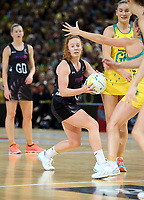 14.10.2017 Silver Ferns Samantha Sinclair in action during the Constellation Cup netball match between the Silver Ferns and Australia at QudosBank Arena in Sydney. Mandatory Photo Credit ©Michael Bradley.