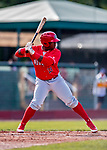29 July 2018: Batavia Muckdogs outfielder Albert Guaimaro in action against the Vermont Lake Monsters at Centennial Field in Burlington, Vermont. The Lake Monsters defeated the Muckdogs 4-1 in NY Penn League action. Mandatory Credit: Ed Wolfstein Photo *** RAW (NEF) Image File Available ***