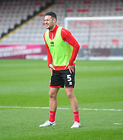 Lincoln City's Jason Shackell during the pre-match warm-up<br /> <br /> Photographer Andrew Vaughan/CameraSport<br /> <br /> Emirates FA Cup First Round - Lincoln City v Northampton Town - Saturday 10th November 2018 - Sincil Bank - Lincoln<br />  <br /> World Copyright © 2018 CameraSport. All rights reserved. 43 Linden Ave. Countesthorpe. Leicester. England. LE8 5PG - Tel: +44 (0) 116 277 4147 - admin@camerasport.com - www.camerasport.com