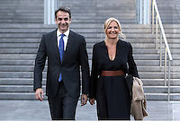 Pictured L-R: New Democracy leader Kyriakos Mitsotakis with wife Mareva arrive for a formal dinner in Athens, Greece. Friday 17 June 2016<br /> Re: The United Nations secretary-general is visiting Greece, ahead of talks with government officials and a trip to the island of Lesbos, which is at the forefront of Greece's immigration crisis.<br /> Ban Ki-moon met with officials and volunteers at the Solidarity Now group, which helps victims of Greece's financial crisis and migrants stuck in the country.<br /> He has also visited Greek President Procopis Pavlopoulos before travelling camps on Lesbos island where 3,400 refugees and other migrants live.
