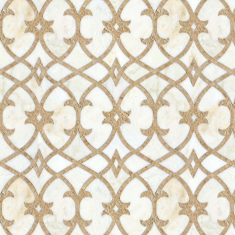 Avila, a waterjet and hand-cut stone mosaic, shown in polished Cloud Nine and honed Lavigne, is part of the Miraflores Collection by Paul Schatz for New Ravenna.