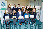 Coliste na Sceilge at the ETB Awards evening in the I T Tralee on Friday night. Seated l to r: Grace O'Connell, Hope Boyle, Maurice Fitzgerald (Principal),  Caoimhe Cournane and Gabya Lengvinaite.<br /> Back l to r: Ann Marie Killin, Orla Daly, Seamus O'Siochru, Sinead O'Dwyer, Aoibhín O'Collins, Emer O'Donovan and Roisin O'Shea.