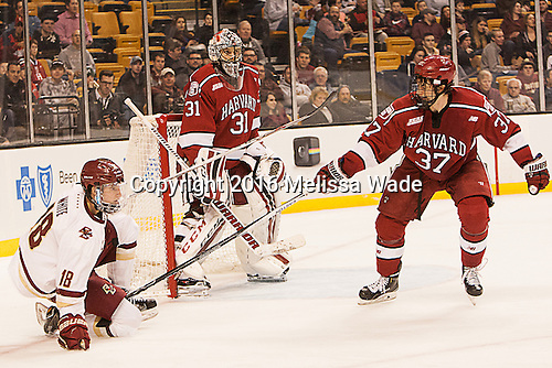 Colin White (BC - 18), Merrick Madsen (Harvard -  31), Desmond Bergin (Harvard - 37) - The Boston College Eagles defeated the Harvard University Crimson 3-2 in the opening round of the Beanpot on Monday, February 1, 2016, at TD Garden in Boston, Massachusetts.