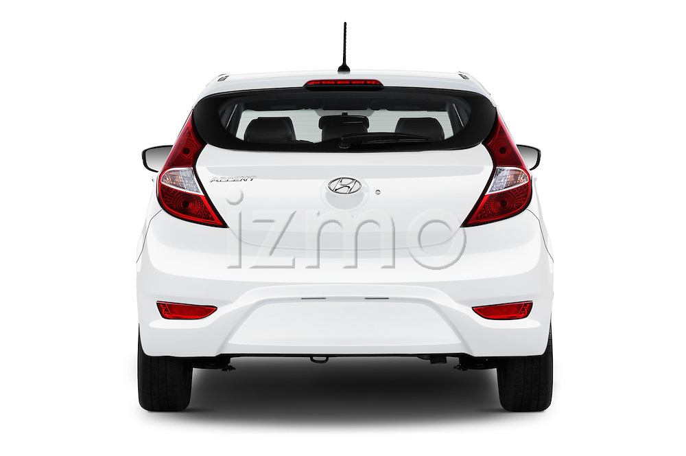 Straight rear view of 2016 Hyundai Accent SE 6-Speed Automatic 5 Door Hatchback Rear View  stock images