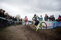 Sven Nys (BEL/Crelan-AAdrinks) & Kevin Pauwels (BEL/Sunweb-Napoleon Games)<br /> <br /> Men Elite Race<br /> Superprestige Zonhoven 2015