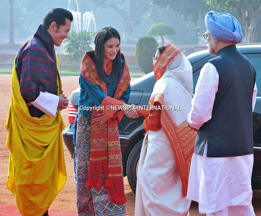 """KING AND QUEEN OF BHUTAN VISIT INDIA.The recently married King of Bhutan, His Majesty Jigme Khesar Namgyel Wangchuck and the Bhutan Queen, Her Majesty Jetsun Pema Wangchuck made their first foreign trip with a visit to India.During their official visit they met the Indian President, Smt. Pratibha Devisingh Patil and the Prime Minister, Dr. Manmohan Singh at Rashtrapati Bhawan, New Delhi_24/10/2011.The King Wangchuck married Jetsun Pema on 13th October, 2011..Photo: ©Newspix International..**ALL FEES PAYABLE TO: """"NEWSPIX INTERNATIONAL""""**..PHOTO CREDIT MANDATORY!!: NEWSPIX INTERNATIONAL(Failure to credit will incur a surcharge of 100% of reproduction fees)..IMMEDIATE CONFIRMATION OF USAGE REQUIRED:.Newspix International, 31 Chinnery Hill, Bishop's Stortford, ENGLAND CM23 3PS.Tel:+441279 324672  ; Fax: +441279656877.Mobile:  0777568 1153.e-mail: info@newspixinternational.co.uk"""
