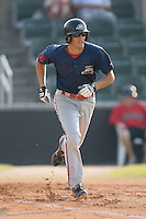 Second baseman Zachary Penprase (24) of the Greenville Drive hustles down the first base line at Fieldcrest Cannon Stadium in Kannapolis, NC, Sunday August 10, 2008. (Photo by Brian Westerholt / Four Seam Images)