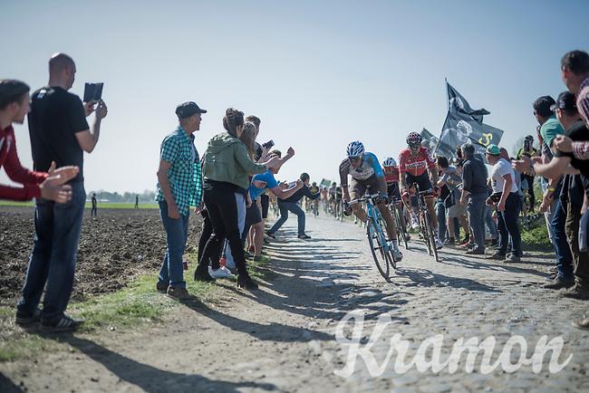 Oliver Naesen (BEL/AG2R-LaMondiale), Marcel Sieberg (DEU/Lotto-Soudal) &amp; John Degenkolb (DEU/Trek-Segafredo)<br /> <br /> 115th Paris-Roubaix 2017 (1.UWT)<br /> One Day Race: Compi&egrave;gne &rsaquo; Roubaix (257km)
