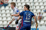 GER - Mannheim, Germany, April 15: During the field hockey 1. Bundesliga match between Mannheimer HC (blue) and Rot-Weiss Koeln (white) on April 15, 2018 at Am Neckarkanal in Mannheim, Germany. Final score 2-2. (Photo by Dirk Markgraf / www.265-images.com) *** Local caption *** Paul Zmyslony #13 of Mannheimer HC