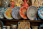 Ceramic vasesd on display for sale in the Covered Bazaar in Istanbul