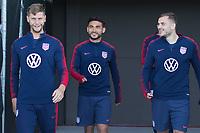 Walker Zimmerman, Cristian Roldan, Jordan Morris walk onto the field at IMG Academy