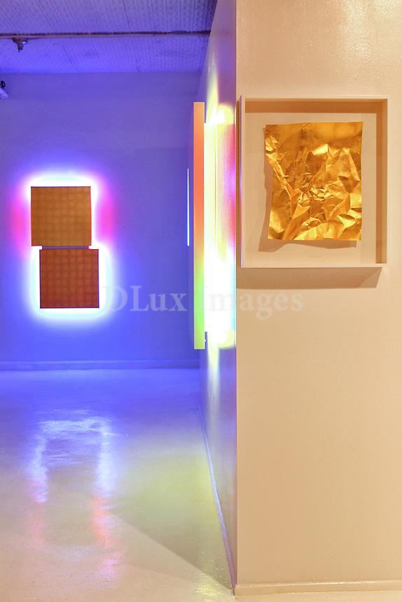 modern work studio with artworks