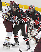 Dan Bertram, Jacques Perreault, Adam Geragosian - The Boston College Eagles defeated Northeastern University Huskies 5-3 on Saturday, November 19, 2005, at Kelley Rink in Conte Forum at Chestnut Hill, MA.