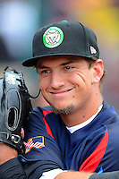 Kane County Cougars outfielder Albert Almora #2 stretches before a game against the Beloit Snappers on May 26, 2013 at Fifth Third Bank Ballpark in Geneva, Illinois.  Beloit defeated Kane County 6-5.  (Mike Janes/Four Seam Images)