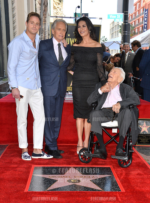 LOS ANGELES, CA. November 06, 2018: Michael Douglas, Kirk Douglas, Catherine Zeta-Jones &amp; Cameron Douglas at the Hollywood Walk of Fame Star Ceremony honoring actor Michael Douglas.<br /> Pictures: Paul Smith/Featureflash