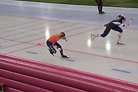 SPEEDSKATING: HAMAR: Vikingskipet, 29-02-2020, ISU World Speed Skating Championships, Sprint, 1000m Ladies, Letitia de Jong (NED), Vanessa Herzog (AUT), ©photo Martin de Jong