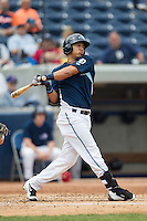 West Michigan Whitecaps third baseman Steven Fuentes (24) follows through on his swing against the Dayton Dragons on April 24, 2016 at Fifth Third Ballpark in Comstock, Michigan. Dayton defeated West Michigan 4-3. (Andrew Woolley/Four Seam Images)