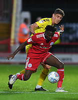 Fleetwood Town's Harrison Biggins battles with Accrington Stanley's Wilson Carvalho<br /> <br /> Photographer Dave Howarth/CameraSport<br /> <br /> EFL Leasing.com Trophy - Northern Section - Group B - Tuesday 3rd September 2019 - Accrington Stanley v Fleetwood Town - Crown Ground - Accrington<br />  <br /> World Copyright © 2019 CameraSport. All rights reserved. 43 Linden Ave. Countesthorpe. Leicester. England. LE8 5PG - Tel: +44 (0) 116 277 4147 - admin@camerasport.com - www.camerasport.com