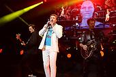 MIAMI BEACH, FL - FEBRUARY 12: Simon Le Bon, John Taylor and Dominic Brown of Duran Duran perform at the Fillmore on February 12, 2019 in Miami Beach, Florida. Credit Larry Marano © 2019