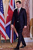 Washington, DC - January 24, 2019: U.K. Foreign Secretary Jeremy Hunt meets with Sec. Michael Pompeo at the Department of State January 24, 2019.  (Photo by Lenin Nolly/Media Images International)