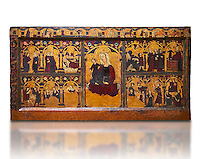 Gothic painted Panel Altar frontal of Jesus' childhood by anonymous artist from Navarra. Tempera and gold leaf on wood. Second quarter of 14th century. 90.8 x 171.2 x 5.8 cm. From the parish church of Arteta (Navarra).. National Museum of Catalan Art, inv no: 004368-000