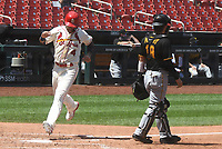 25th July 2020, St Louis, MO, USA;  St. Louis Cardinals catcher Yadier Molina (4) scores on an RBI single bye St.Louis Cardinals outfielder Tyler O'Neill during a Major League Baseball game between the Pittsburgh Pirates and the St. Louis Cardinals