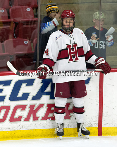 Michael Floodstrand (Harvard - 44) - The visiting Colgate University Raiders shut out the Harvard University Crimson for a 2-0 win on Saturday, January 27, 2018, at Bright-Landry Hockey Center in Boston, Massachusetts.