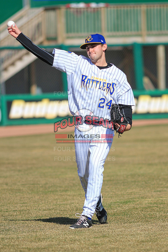 Wisconsin Timber Rattlers pitcher David Burkhalter (24) warms up prior to a game against the Peoria Chiefs on April 12th, 2015 at Fox Cities Stadium in Appleton, Wisconsin.  Peoria defeated Wisconsin 11-1.  (Brad Krause/Four Seam Images)