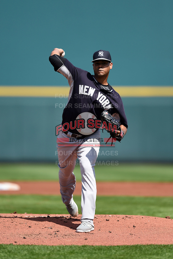 New York Yankees pitcher Esmil Rogers (53) during a Spring Training game against the Pittsburgh Pirates on March 5, 2015 at McKechnie Field in Bradenton, Florida.  New York defeated Pittsburgh 2-1.  (Mike Janes/Four Seam Images)