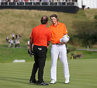 The end of a gruelling and disappointing final ound for both overnight leader Peter Uihlein (USA) and contender Thomas Levet (FRA) at the 2013 ISPS Handa Wales Open from the Celtic Manor Resort, Newport, Wales. Picture:  David Lloyd / www.golffile.ie