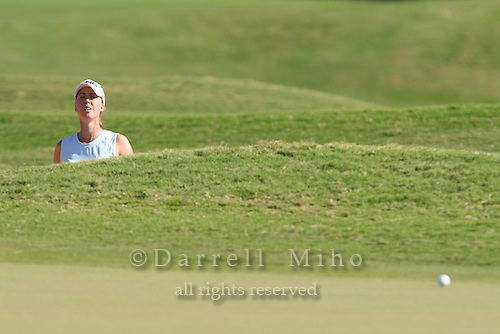 February 16, 2006 - Kahuku, HI - Louise Stahle (?) looks to see where her bunker shot landed during Round 1 of the LPGA SBS Open at Turtle Bay Resort...Photo: Darrell Miho