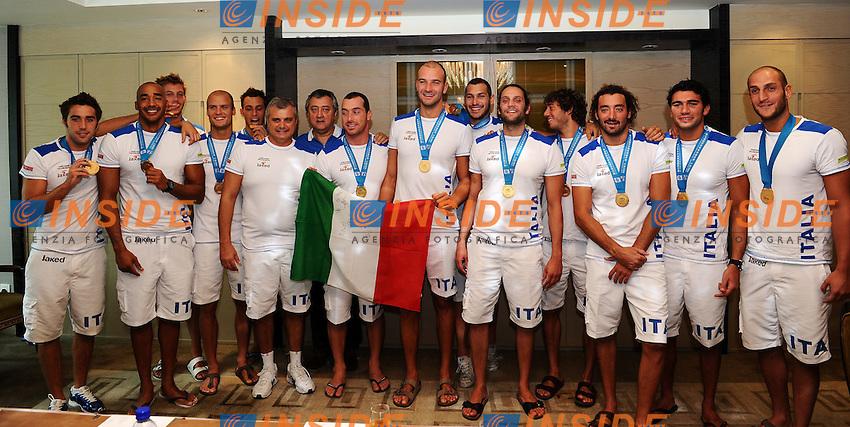La squadra italiana.Italia Medaglia D'Oro - Gold medal.Men's Waterpolo Pallanuoto.Shanghai 31/7/2011 .14th FINA World Championships.Foto Andrea Staccioli Insidefoto