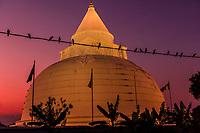 Tissamaharama Stupa illuminated at twilight, Tissamaharama, Southern Province, Sri Lanka.