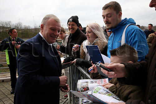 02.04.2016. New York Stadium, Rotherham England.  Sky Bet Championship Rotherham versus Leeds United. Former Rotherham Manager Steve Evans arrives with his current team Leeds United and signs autographs