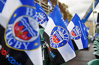 A general view of Bath Rugby flags. European Rugby Champions Cup match, between Bath Rugby and Toulouse on October 25, 2014 at the Recreation Ground in Bath, England. Photo by: Patrick Khachfe / Onside Images