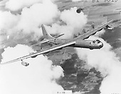 "The B-36, an intercontinental bomber, was designed during World War 2.  The airplane made its maiden flight on August 8, 1946 and on June 26, 1948 the Strategic Air Command received its first B-36 for operational use. By August 1954, when production ended, more than 380 B-36s had been built for the United States Air Force (USAF).  In 1958-59, the B-36 was replaced by the more modern B-52. During the years it was in service, the airplane was one of America's major deterrents to aggression by a potential enemy. The fact that the B-36 was never used in combat was indicative of its value in ""keeping the peace."".Credit: U.S. Air Force via CNP"